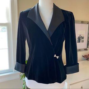 Alex Evenings Velvet/Satin Tuxedo Style Jacket M